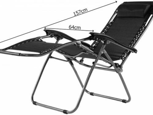 deluxe reclining sun lounger folding zero gravity chair. Black Bedroom Furniture Sets. Home Design Ideas